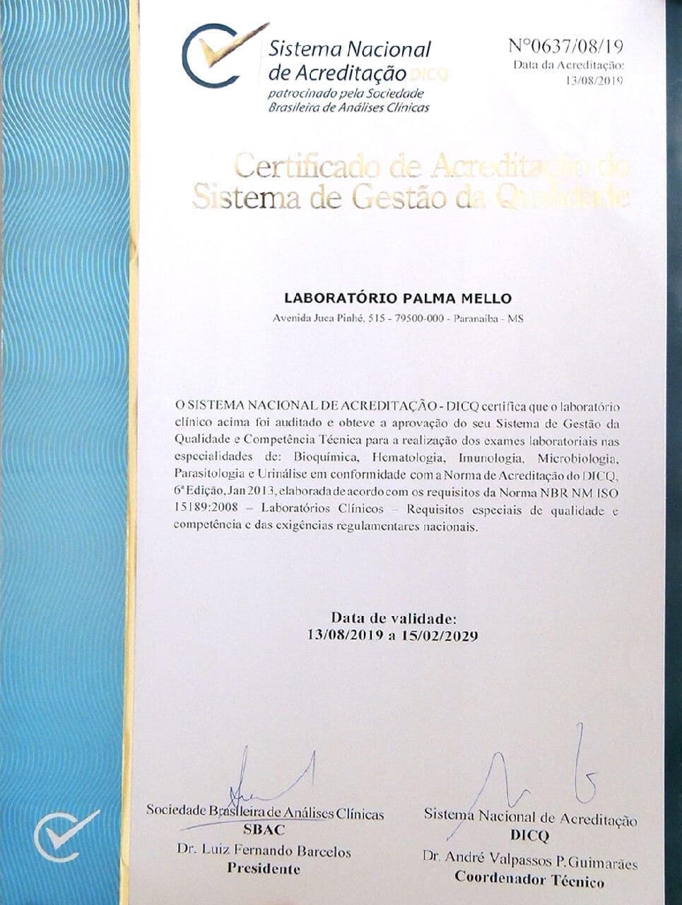 Certificado de Acredicação do Sistema de Gestão da Qualidade